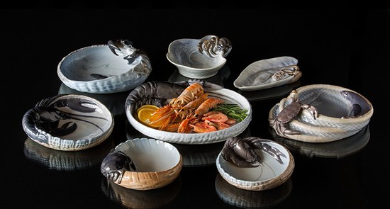 Dishes for serving fish etc.