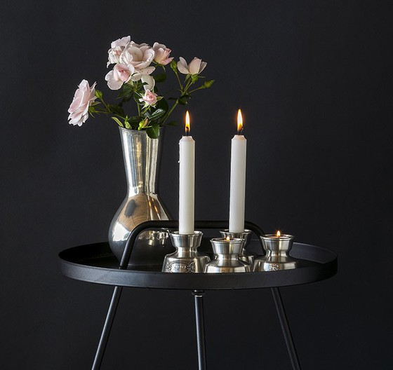 Tin Candleholders and Vase